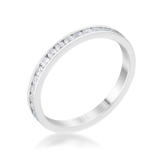 Teresa 0.5ct Clear CZ Stainless Steel Eternity Band