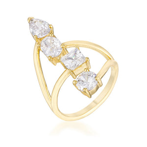 3CT Stunning CZ Goldtone Ring
