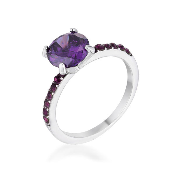 2.3CT Amethyst CZ Rhodium Ring