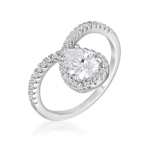 1.5Ct Rhodium Chevron Ring With Clear CZ