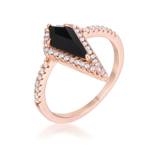 1.4Ct Rose Goldtone Trendy Prism Onyx CZ Ring