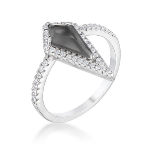 1.4Ct Rhodium Trendy Prism Smokey Topaz CZ Ring