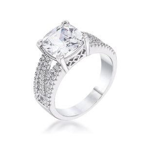3Ct Elegant Silvertone Criss-Cross Clear CZ Engagement Ring