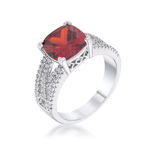 3Ct Elegant Silvertone Criss-Cross Garnet CZ Engagement Ring