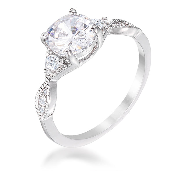 1.45Ct Rhodium Plated Classic Vine Engagement Ring