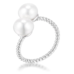 Rhodium Plated Twisted Rope Freshwater Pearl Wrap ring