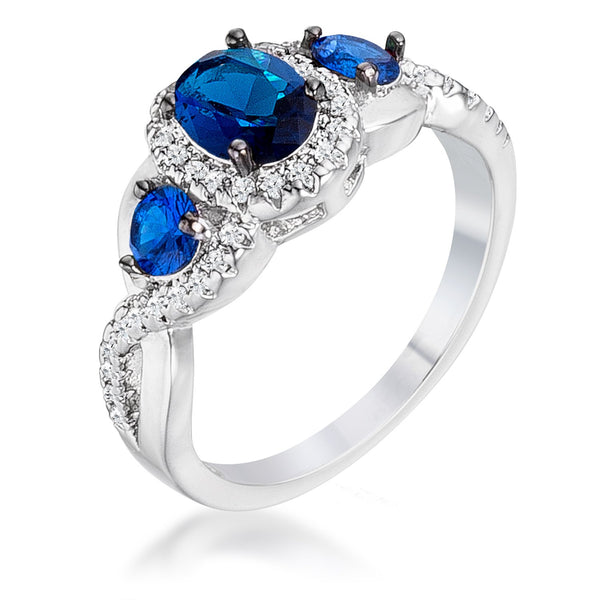 1.43Ct Rhodium & Hematite Plated Sapphire Blue & Clear CZ Three Stone Twisted  Ring