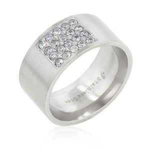 Stainless Steel Pave Cubic Zirconia Men's Ring