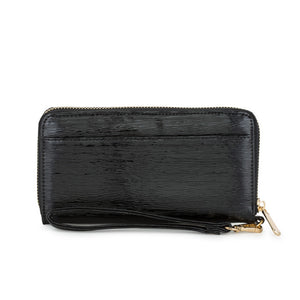 Kate Black Faux Textured Leather Clutch