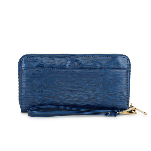 Kate Navy Faux Textured Leather Clutch