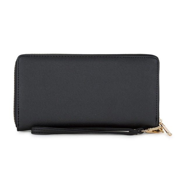Martha Black Faux Leather Clutch