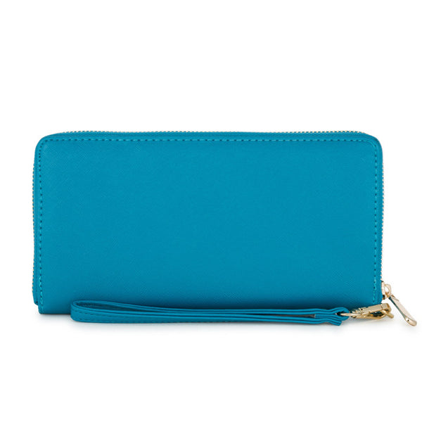 Martha Teal Faux Leather Clutch