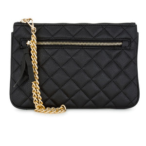 Alexis Black Quilted Faux Leather Clutch With Gold Chain Wristlet