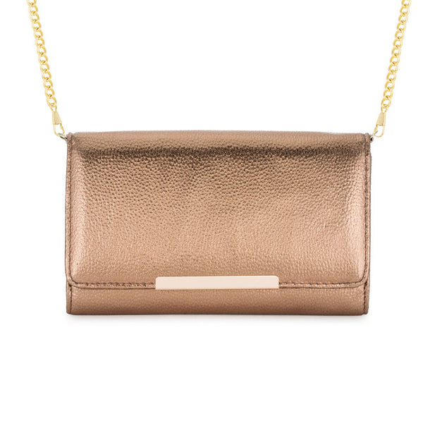 Laney Bronze Metallic Pebbled Faux Leather Clutch With Gold Chain Strap