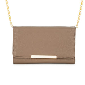 Laney Taupe Pebbled Faux Leather Clutch With Gold Chain Strap