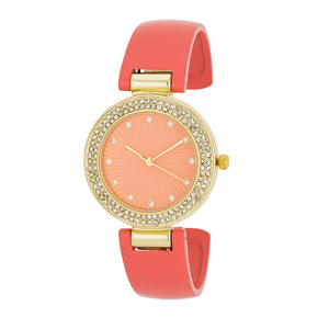 Coral Cuff Crystal Watch