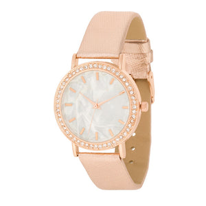 Rose Gold Leather Watch With Crystals