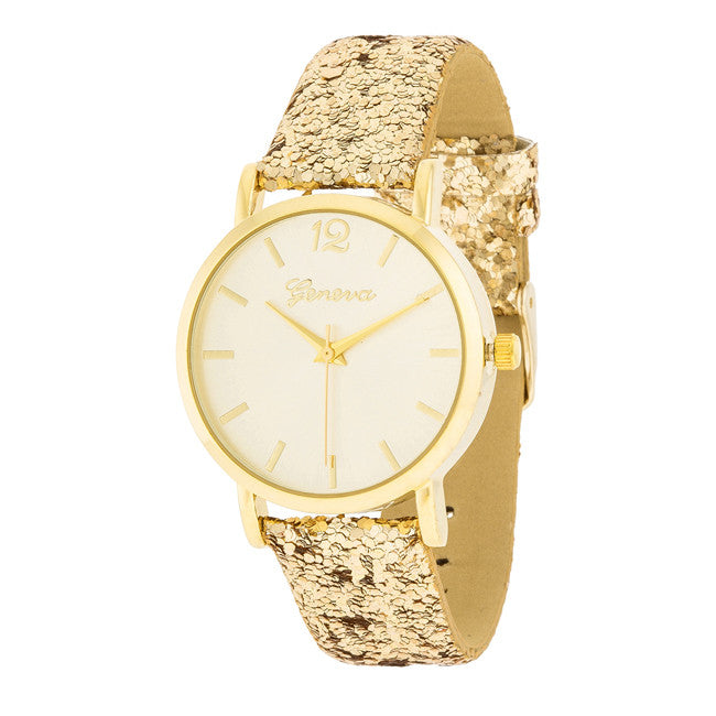 Gold Watch With Glitter Leather Strap