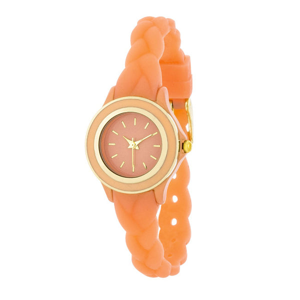 Carmen Braided Ladylike Watch With Coral Rubber Strap