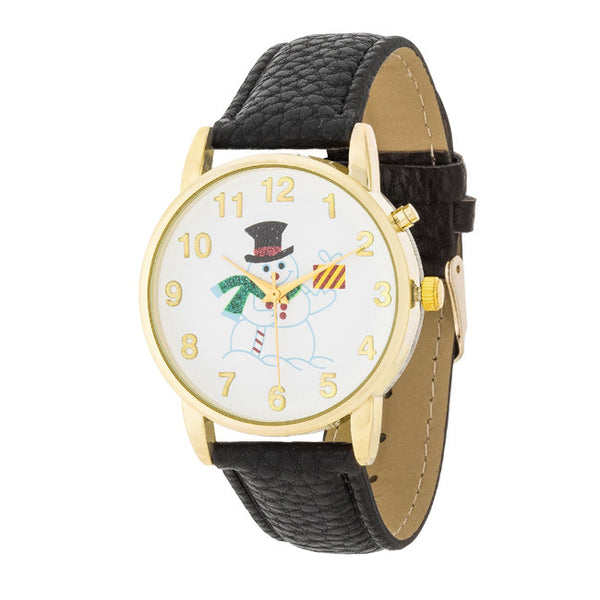 Gold Holiday Tune Watch With Black Leather Strap
