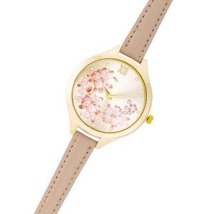 Gold Skinny Beige Leather Floral Watch