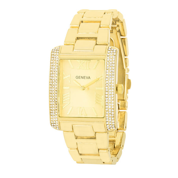 White Crystal Gold Watch