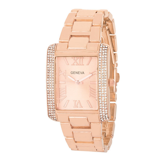 White Crystal Rose Gold Watch