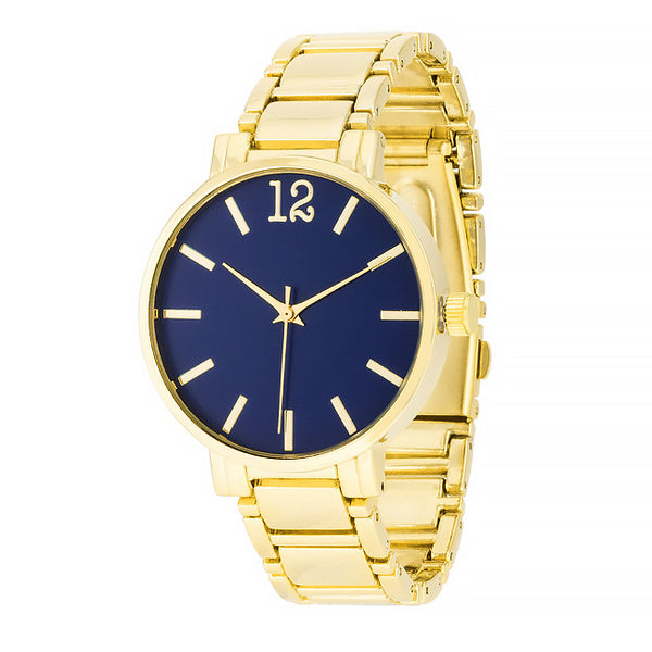 Gold Metal Watch - Navy
