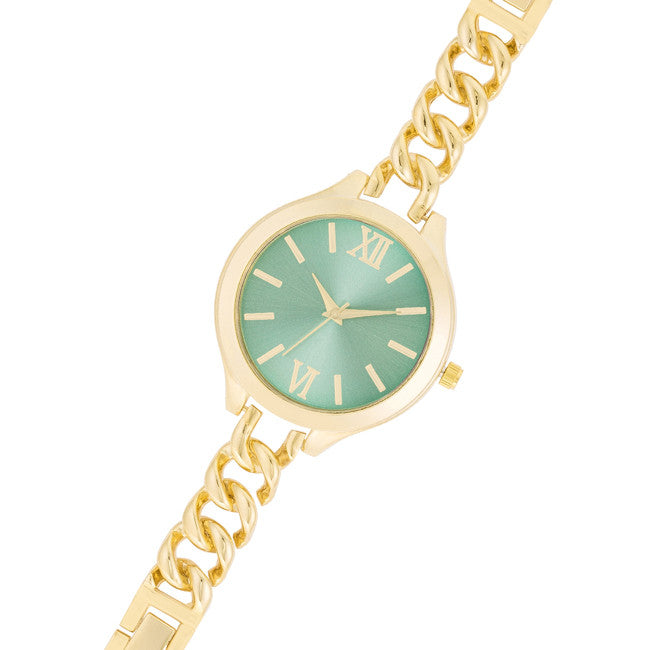 Gold Link Watch With Aqua Dial
