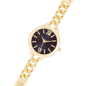 Gold Link Watch With Navy Dial