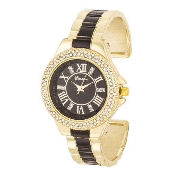 Gold Metal Cuff Watch With Crystals - Black