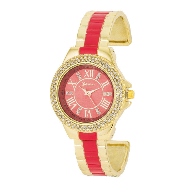 Gold Metal Cuff Watch With Crystals - Coral
