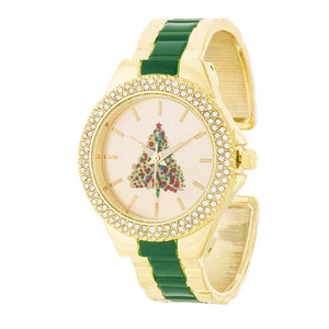 Green And Gold Metal Christmas Tree Cuff Crystal Metal Watch
