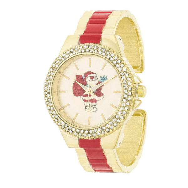 Red And Gold Metal Santa Cuff Crystal Metal Watch