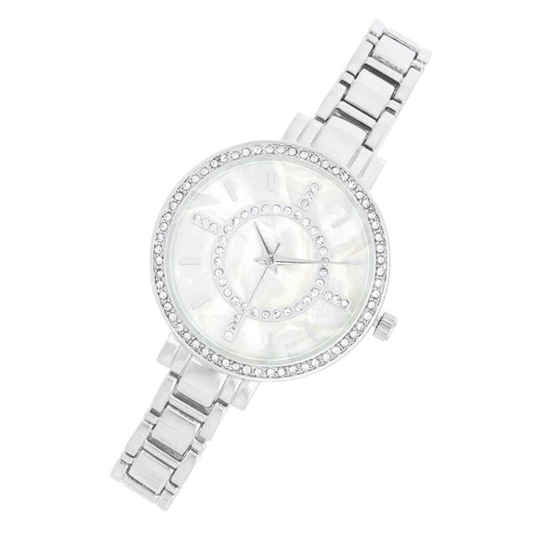 Classic Metal Watch With Crystals