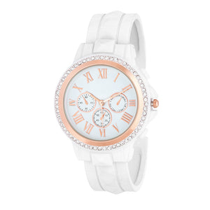 Ava Rose Gold White Metal Watch With Crystals