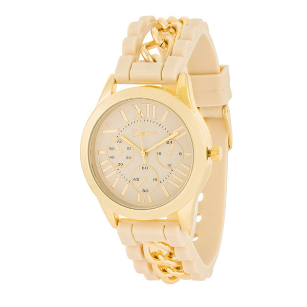 Gold Watch With Beige Rubber Strap