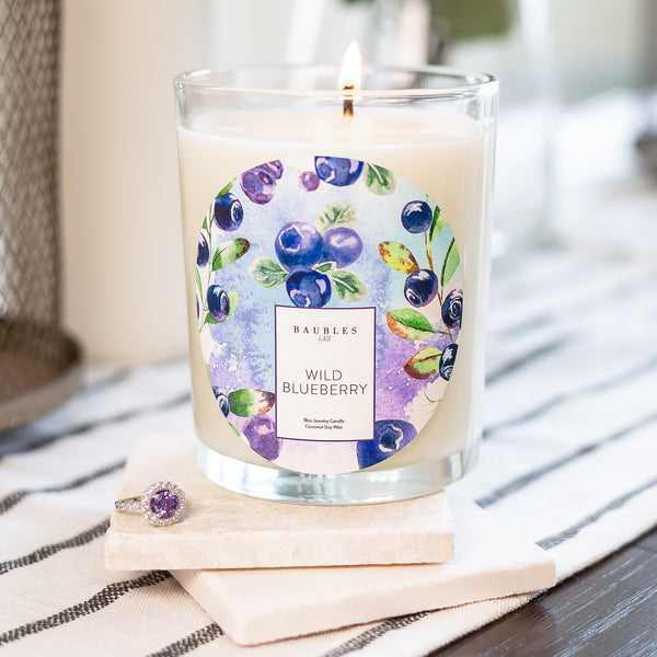 Wild Blueberry Scented Premium Candle and Jewelry