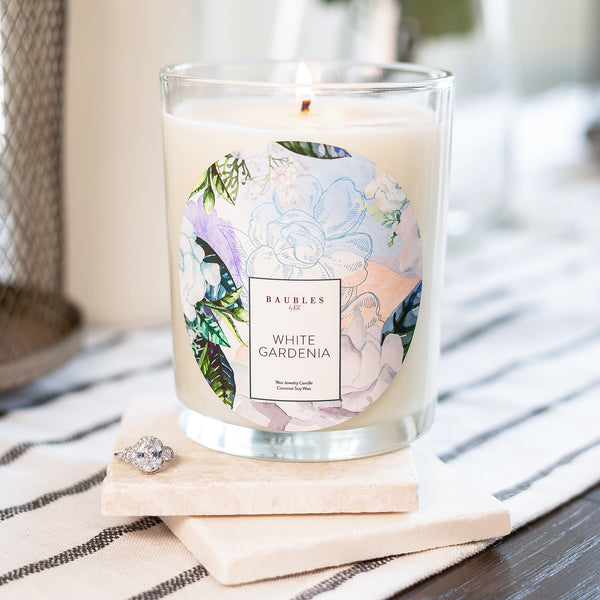 White Gardenia Scented Premium Candle and Jewelry