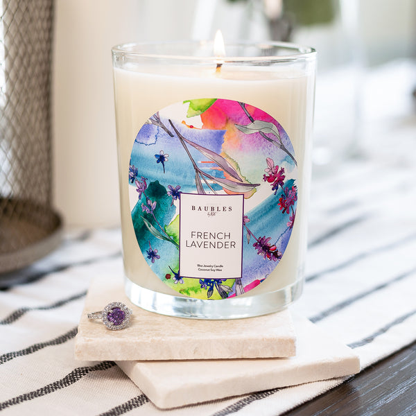 French Lavender Scented Premium Candle and Jewelry