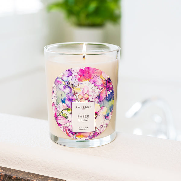 Sheer Lilac Scented Premium Candle and Jewelry
