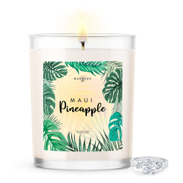 Maui Pineapple Scented 10 oz Premium Candle and Jewelry