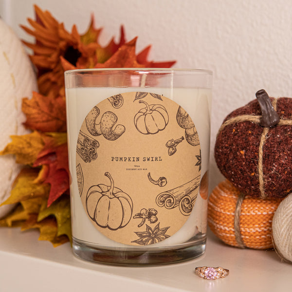 Pumpkin Swirl Scented Premium Candle and Jewelry