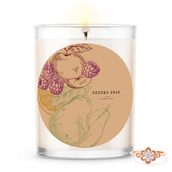 Spiced Pear Scented Premium Candle and Jewelry
