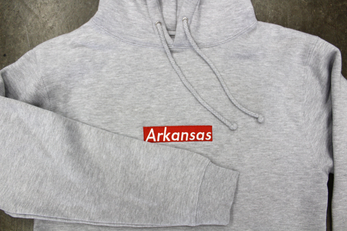 Arkansas Box Logo Hoodies (GRY)