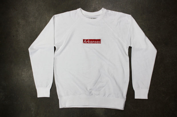Arkansas Box Logo Crewneck (WHT)