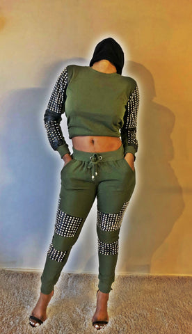 Leather Spikes Patchwork Fashion Tracksuit - 2 colours - sky williams collections