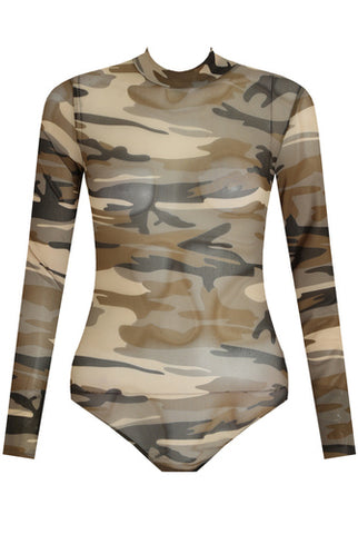 Brown Camouflage Print High Neck Bodysuit - sky williams collections