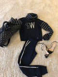 High Neck Navy Blue SW Bling Fashion Tracksuit - sky williams collections