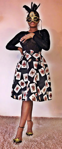Playing Card Mid length skater skirt - sky williams collections